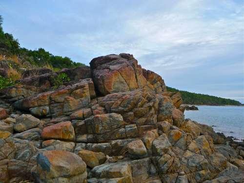 Rocks Seaside Landscape Seascape Coast Tranquil