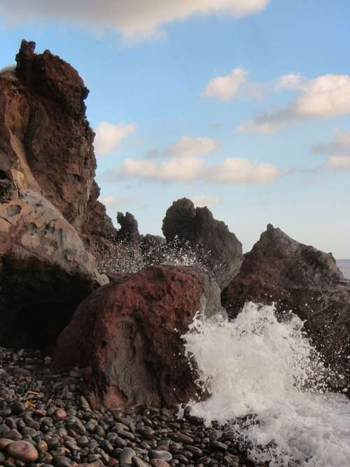 Rocks Sea Sicily Aeolian Islands Salina Beach