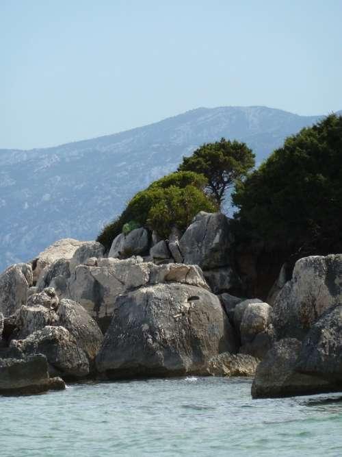 Rocks Blue Sea Sardinia Italy Rock Travel Water
