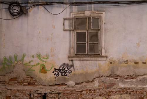 Romanian Romania Wall Window Old Poverty