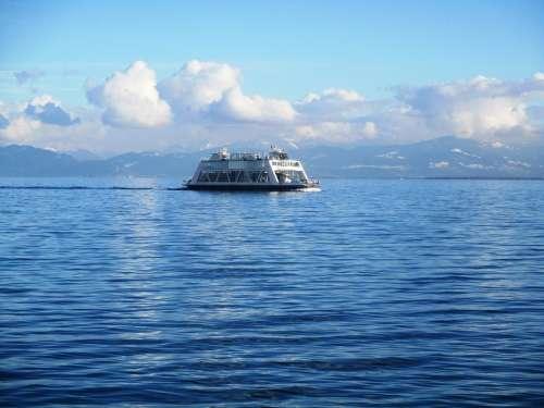 Romanshorn Ship Ferry Car Ferry Pass Clouds