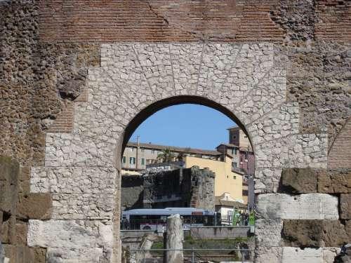 Rome Arch Stone Wall Wall Italy