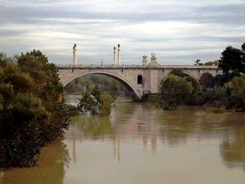 Rome River Tiber Bridge Italy Roma Capitale