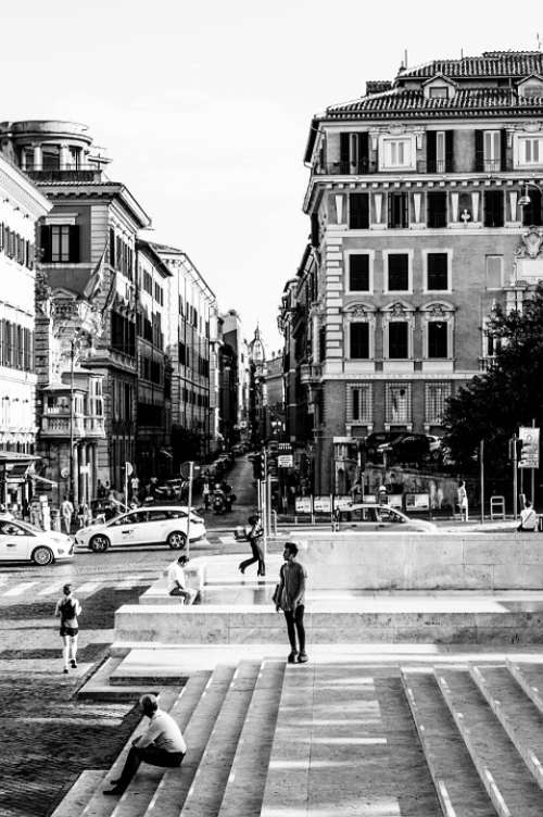 Rome Black And White Road Everyday Life City Away