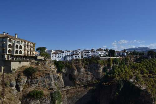 Ronda Spain City Houses Cliffs Rock