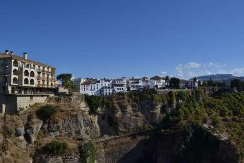 Ronda Spain City Houses Cliffs Rock