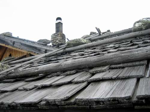 Roof Hut Alpine Shingle Stones Traditionally Grey