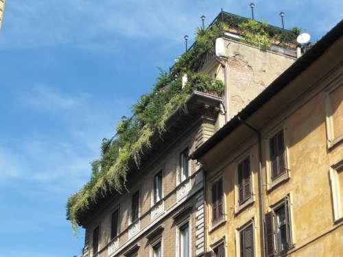 Roof Garden Rome Italy Building Facade