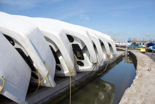 Rowboat Dinghy Pontoon Reflection Sky Weathered