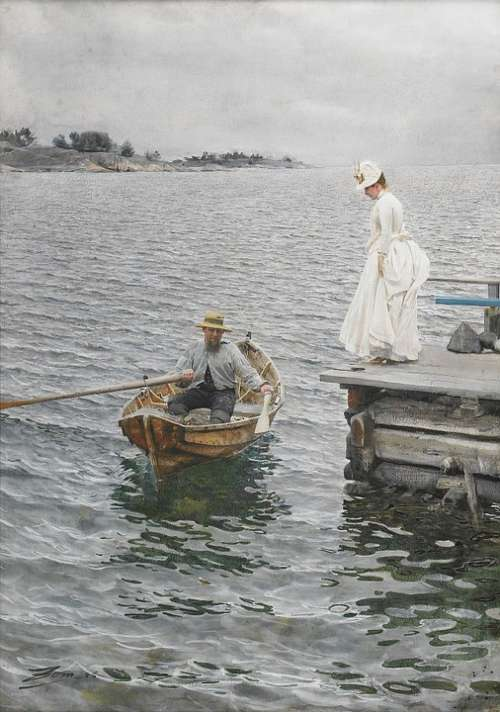 Rowing Boat Boat Lady Painting Sommarnoeje 1886