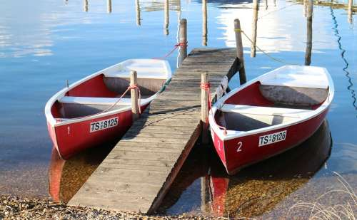 Rowing Boats Rowing Boat Water Boat Red Pier Pair