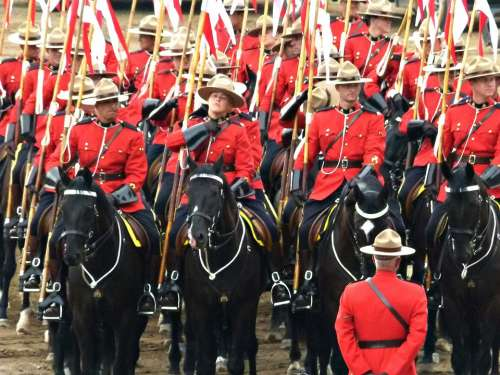Royal Canadien Mounted Police Crowd Peoples Calgary