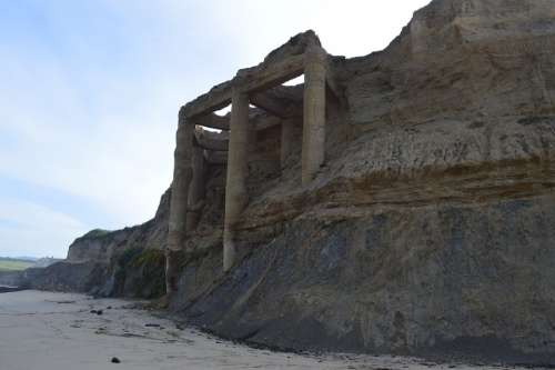 Ruins Beach Cliff Half Moon Bay California Pacific