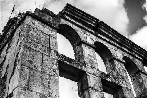 Ruins Antique Black And White Clouds Exploration
