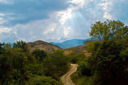 Rural Road Colombia Landscape Clouds