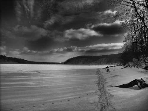 Russia Landscape Scenic Sky Clouds Water Frozen