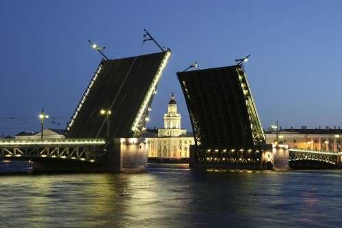 Russia Bridge Petersburg White Night River Neva
