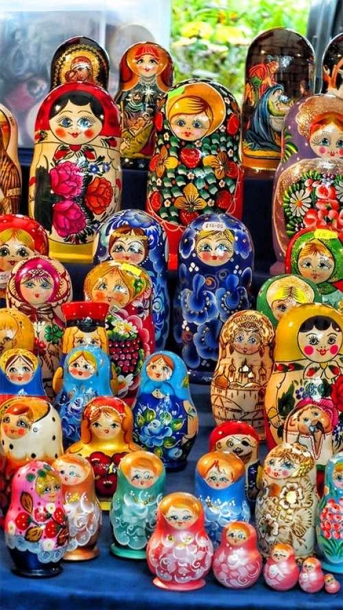 Russian Dolls Decoration Figure Handmade Painted