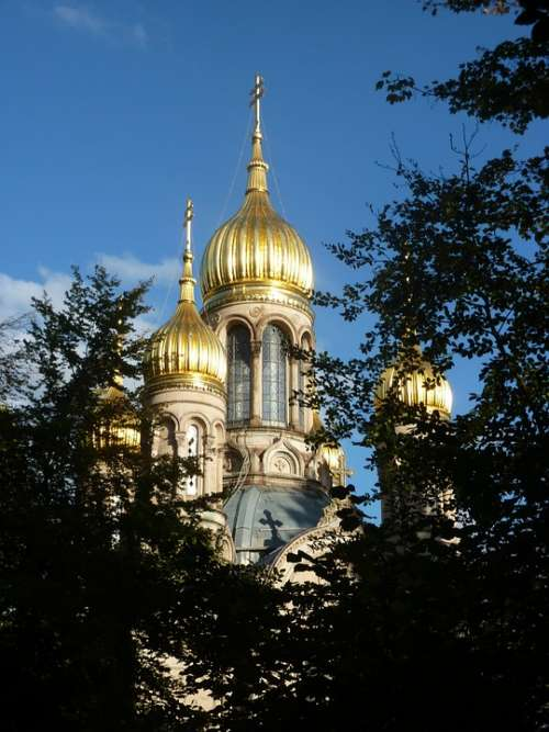 Russian Chapel In Wiesbaden Gold Domed Roof