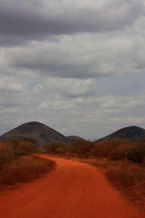 Safari Road Orange Dust Sand Blue Sky Trip