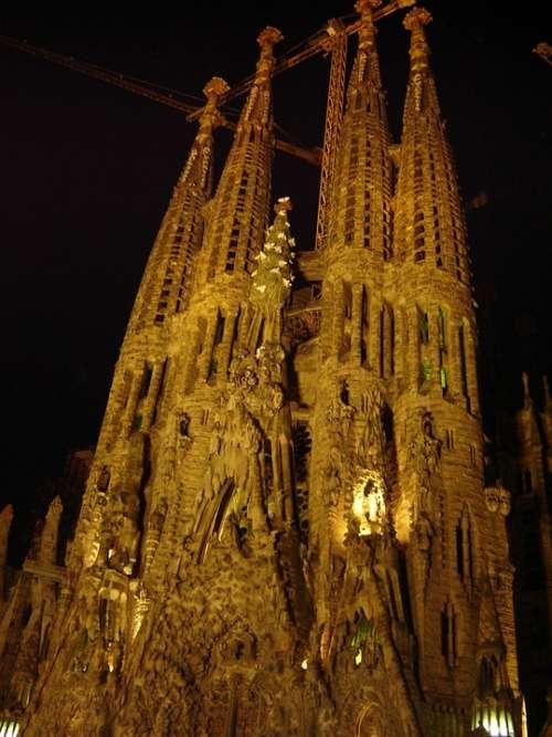 Sagrada Familia Church Night Spain Barcelona