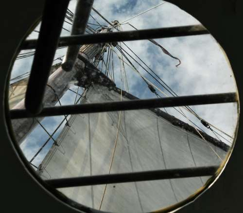 Sail Ship Porthole Vacations Freedom Sky Clouds