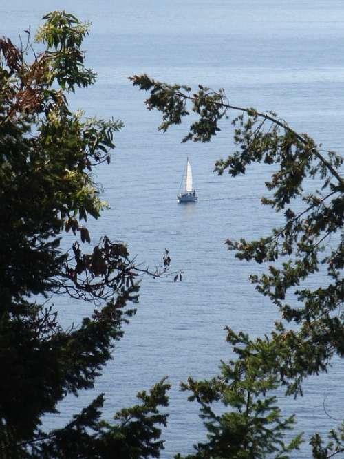 Sailboat Ocean Shore Peaceful Calm Calm Sea Water