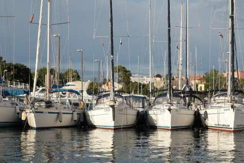 Sailboats Harbor Port Sea Boats Water Cruise