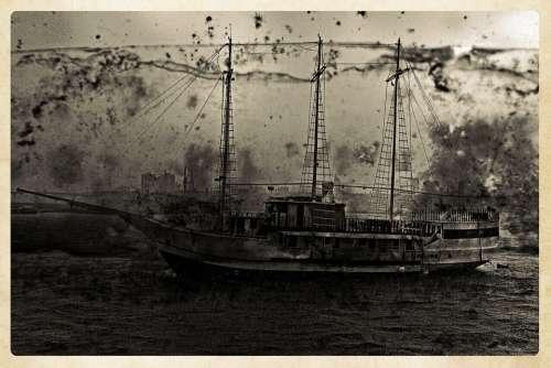 Sailing Ship Boat Antique Artwork River Frame
