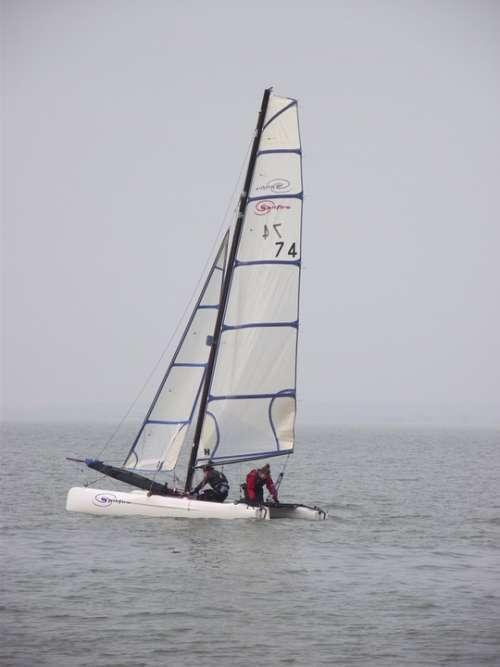 Sailing Boat Water Sea Coast Yacht White Holiday