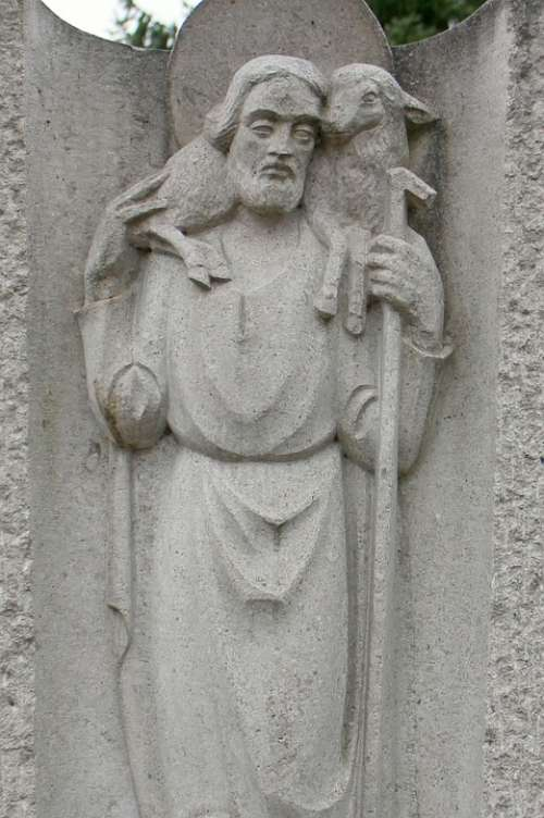 Saint Christophorus Relief Statue Figure Stone
