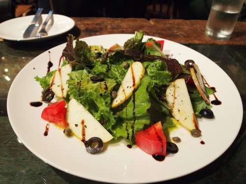 Salad Balsamic Vinegar Lettuce Tomato Food