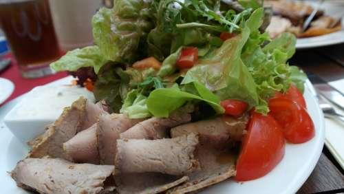 Salad Leaf Lettuce Tomato Roast Beef Meat Healthy