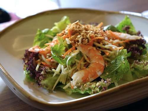Salad Vegetables Prawn Food Green Healthy Peanut