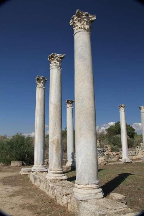 Salamis Roman Ancient Cyprus Column Ruins Tourist
