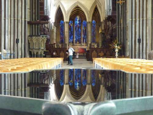 Salisbury Cathedral Church Baptismal Font Water