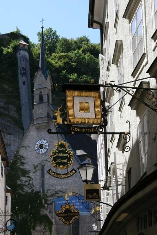 Salzburg Austria City Street Signs Black Gold Old