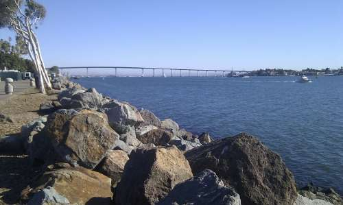 San Diego Coast California Bay Ocean Bridge