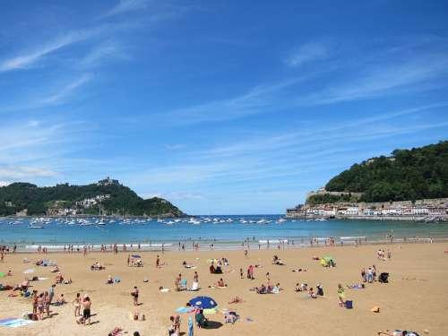 San Sebastian Spain Beach Ocean Mediterranean Sand