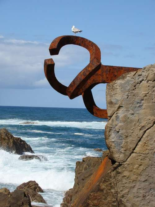 San Sebastian Comb Of The Wind Sculpture Art Sea