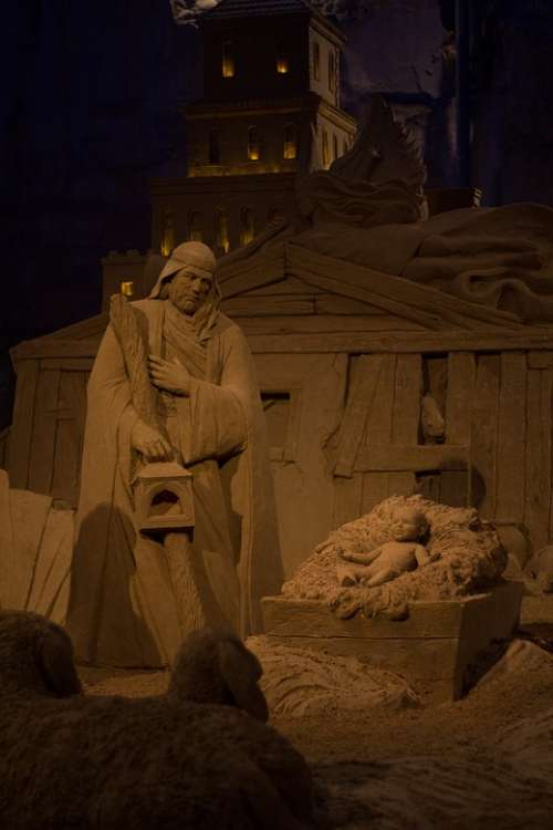 Sand Sand Sculpture Jesus Manger Christmas