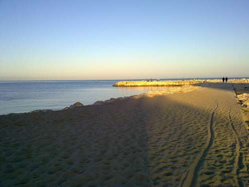 Sand Port Malaga Fuengirola Rock Breakwater Beach