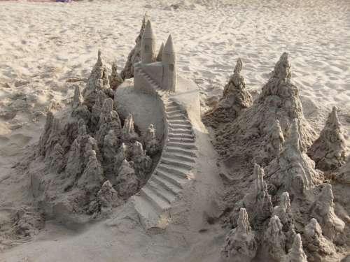 Sand Castle Beach Vacation Coast Seashore Sand