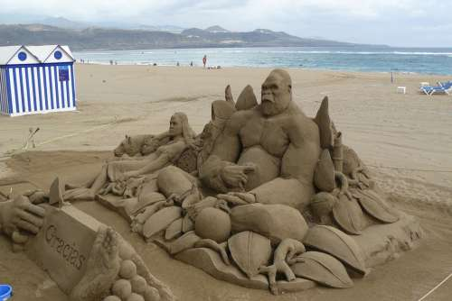 Sand Figure Sand Sculpture Sand Art Sculpture Ape