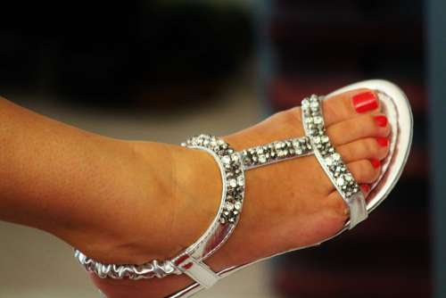 Sandal Foot Woman Foot Shoe Silver Toe Nails Red