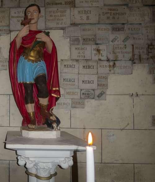 Santo Figure Image Candles Church San Expeditious