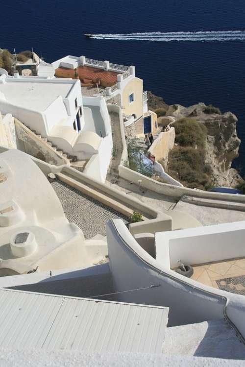 Santorini The Coast Greece Cyclades Landscapes Sea