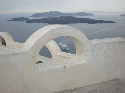 Santorini Greek Island Greece Marine Caldera Ship