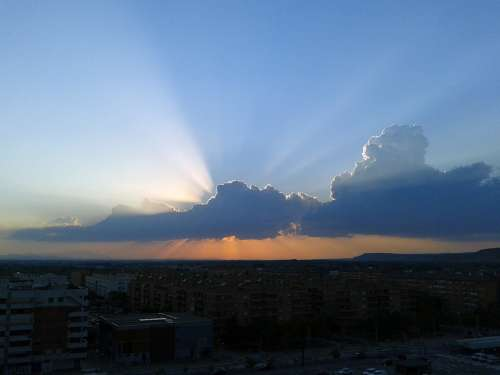 Saragossa Ebro Spain City Clouds Buildings Sunset