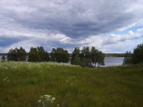 Sauna Water Lake Finnish Beach Nature Sky Clouds